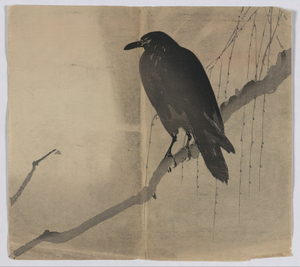 Crow on a Willow Branch, Japanese woodprint, Library of Congress woodprint