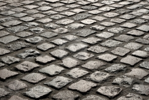 old cobblestones in cornwall