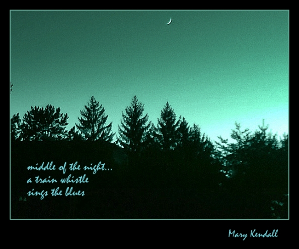 train whistle haiga